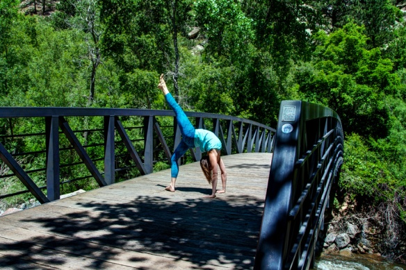 Eka Pada Urdhva Danurasana, One Legged Wheel Pose, Boulder Creek Path, Boulder, CO